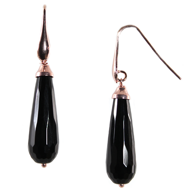 Black Agate Teardrop Earrings
