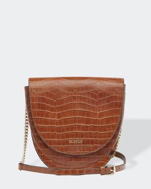 Slyfox Eclipse Leather Saddle Bag - Croc Tan