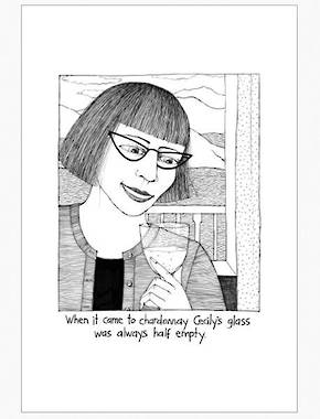 Cecily Tea Towel - Glass Half Empty
