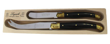 Verdier 2 piece cheese set - black/brass