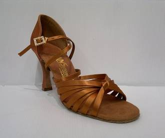 "L3006 - Cross Strap 3"" Heel Dark Tan Sandal"