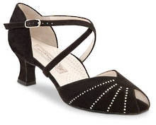 Sonia - Black Suede with Diamante Trim