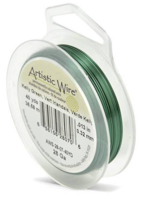 Artistic Wire: 28 gauge, Kelly Green