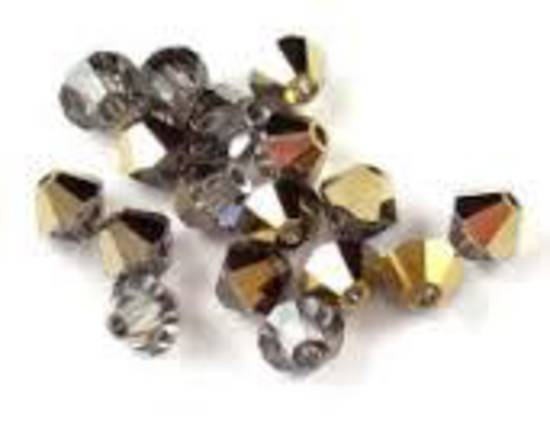 4mm Swarovski Crystal Bicone, Black Diamond/Dorado