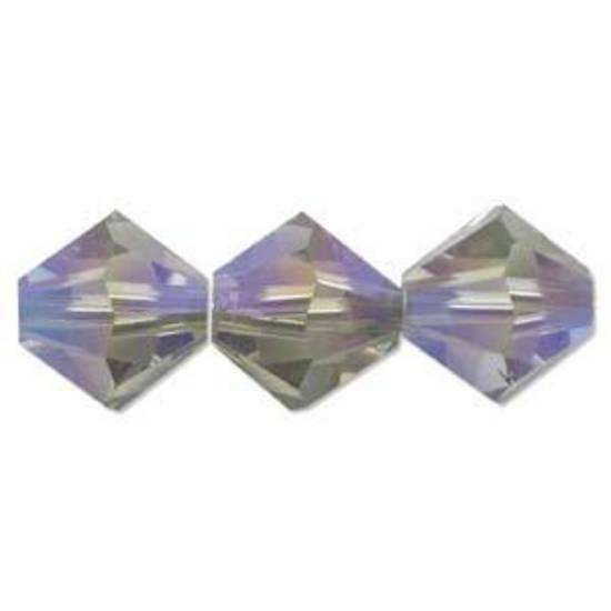 4mm Swarovski Crystal Bicone, Black Diamond AB 2x