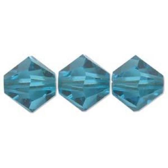6mm Swarovski Crystal Bicone, Blue Zircon