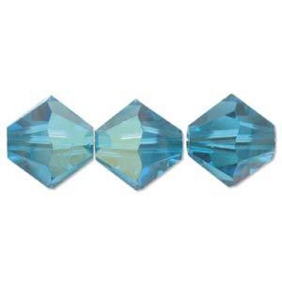 6mm Swarovski Crystal Bicone, Blue Zircon AB