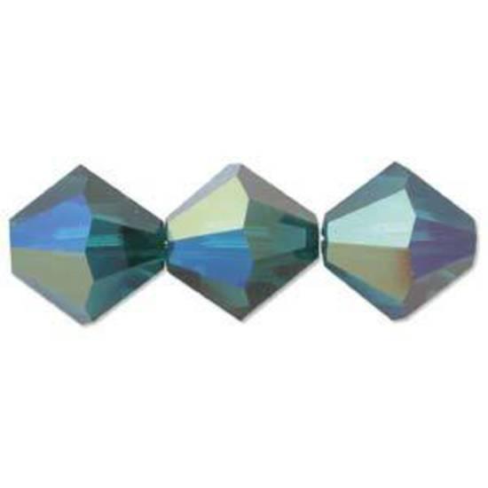 4mm Swarovski Crystal Bicone, Emerald AB