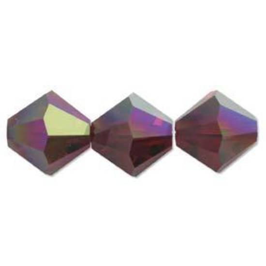 4mm Swarovski Crystal Bicone, Garnet AB
