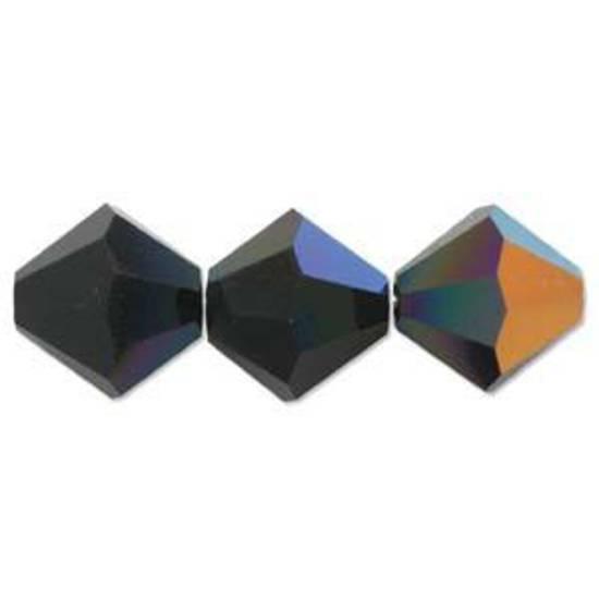 4mm Swarovski Crystal Bicone, Jet AB