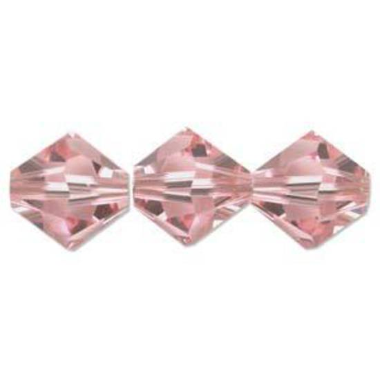 8mm  Swarovski Crystal Bicone, Rose, light