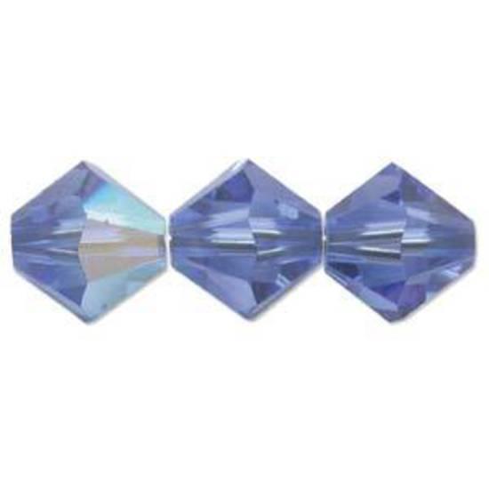 6mm Swarovski Crystal Bicone, Sapphire AB