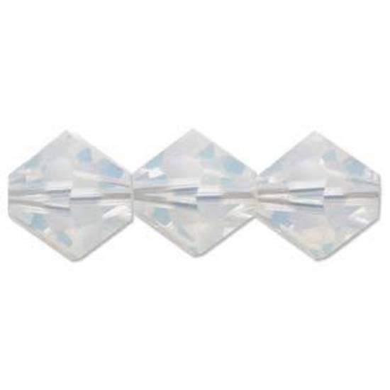 4mm Swarovski Crystal Bicone, White Opal
