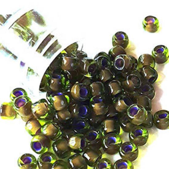 Miyuki size 6 round: 399Y - Dark Olive, purple lined