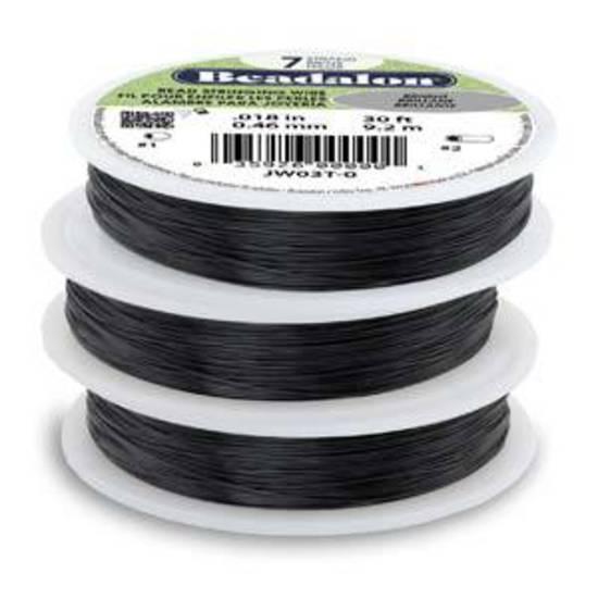 Beadalon 7 strand flexible wire BLACK: Fine (.012)
