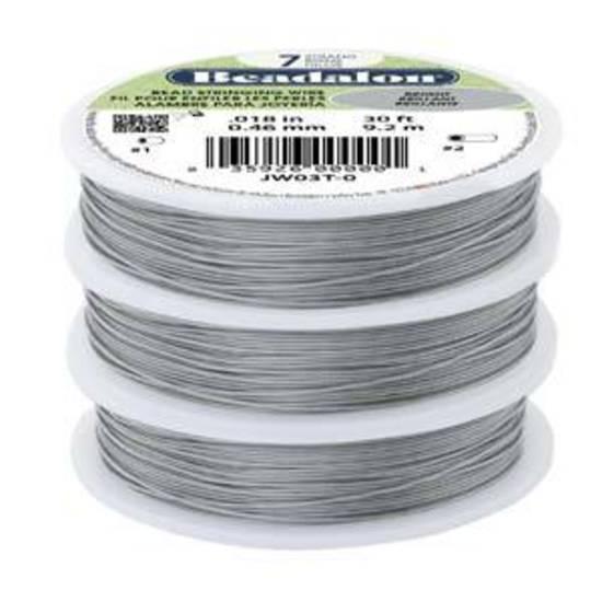 Beadalon 7 strand flexible wire BRIGHT-CLEAR: Fine (.012)