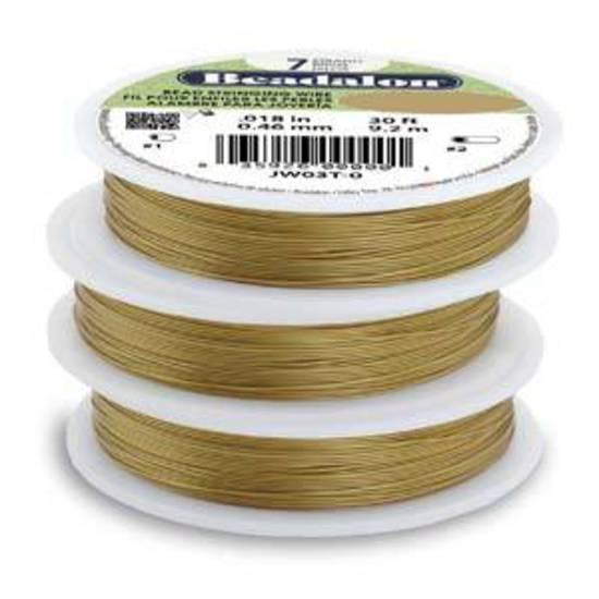 Beadalon 7 strand flexible wire SATIN GOLD: Fine (.012)