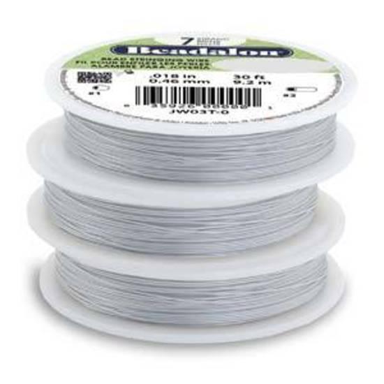 Beadalon 7 strand flexible wire SATIN-SILVER: Fine (.012)