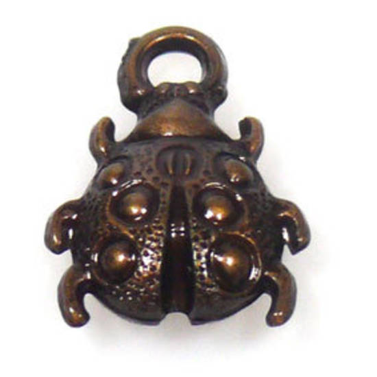 Acrylic Charm: Ladybird - antique brass