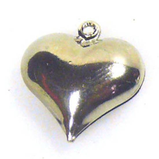 Acrylic Charm: Puffy heart - antique silver