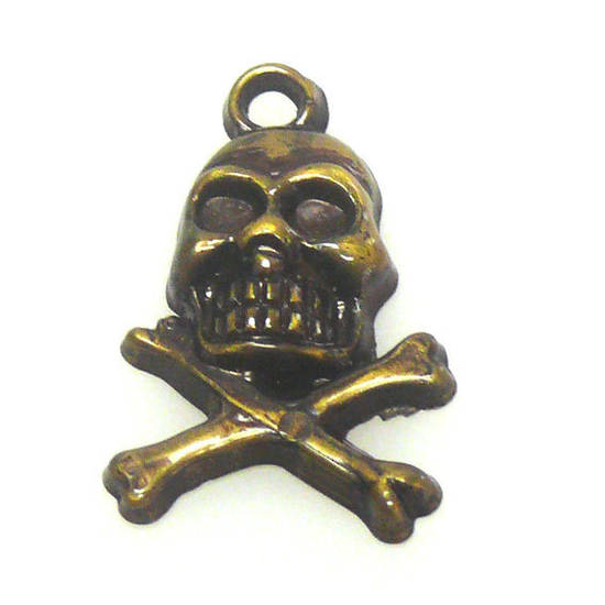 Acrylic Charm: Skull and cross bones - antique brass