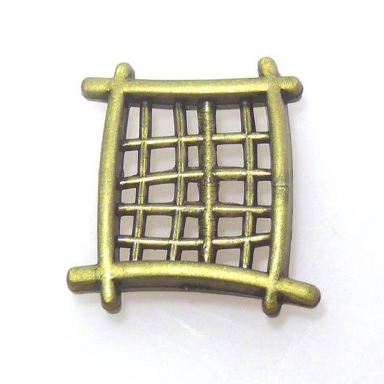 Acrylic Bead, cross hatch, chinese style