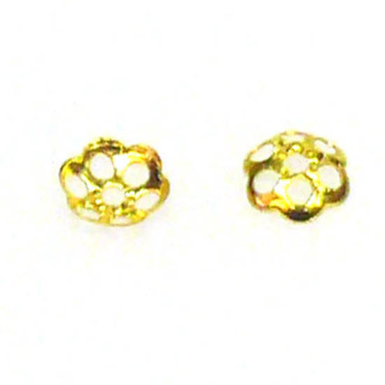 Gold Bead Cap, 4mm, flower pattern