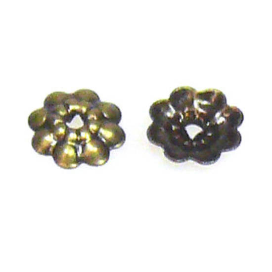 Antique Brass Bead Cap, 6mm, flower like