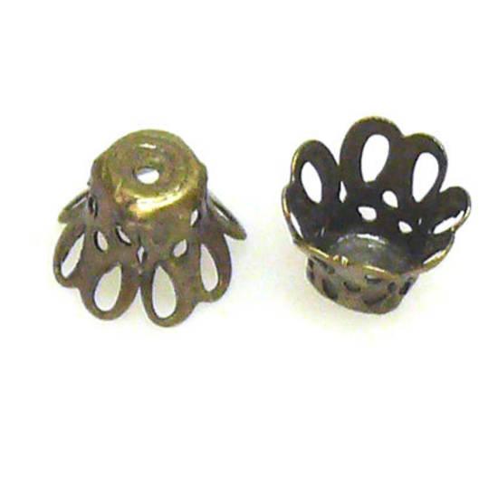 Brass Cone, 8mm x 9mm, open petal pattern