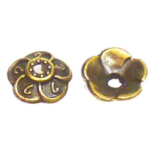 Antique Brass Bead Cap, 9mm, flower swirl
