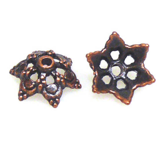 Antique Copper Bead Cap, cast, 15mm, star like