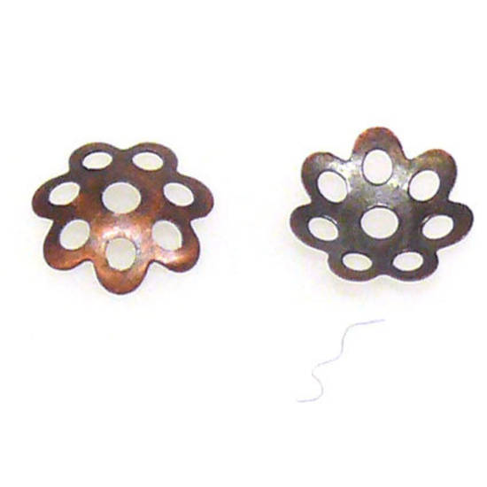 Antique Copper Bead Cap, 8mm, flower like
