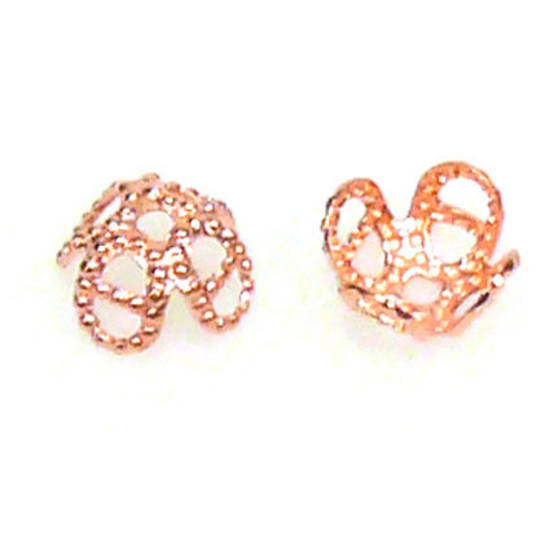 Bright Copper Bead Cap, 7mm, flower like
