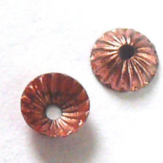 Copper Bead Cap, 5mm, fluted
