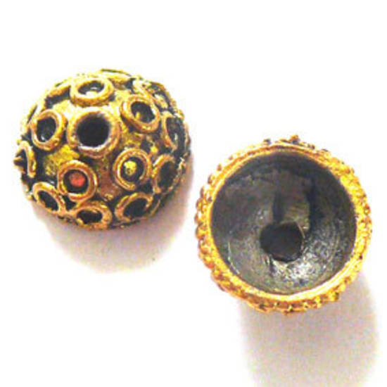 Antique Gold Bead Cap, 11mm rough cast, circle design