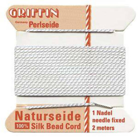 Griffin Silk Cord - White - size 10 (0.9mm)