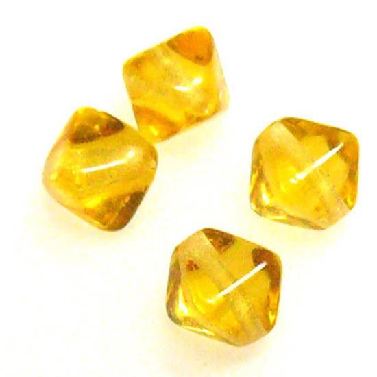 Glass Bicone, 6mm - Amber
