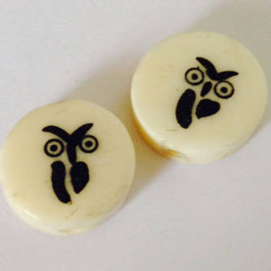 Bone Bead: Owl Disc 16mm