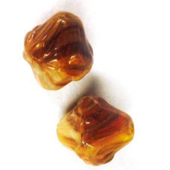 Glass Bicone, 14mm - Brown/Tan swirled