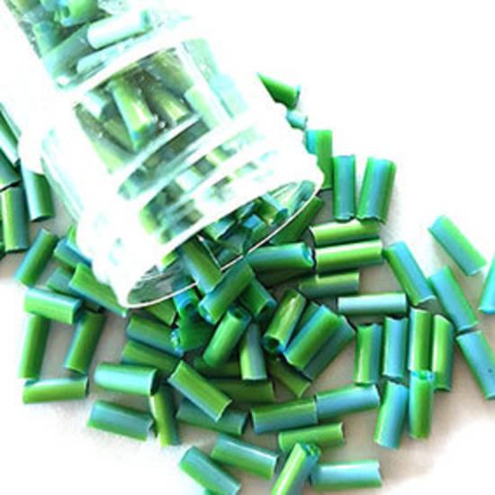 Chinese Bugle, 7mm: Opaque Lt Green/Aqua stripe