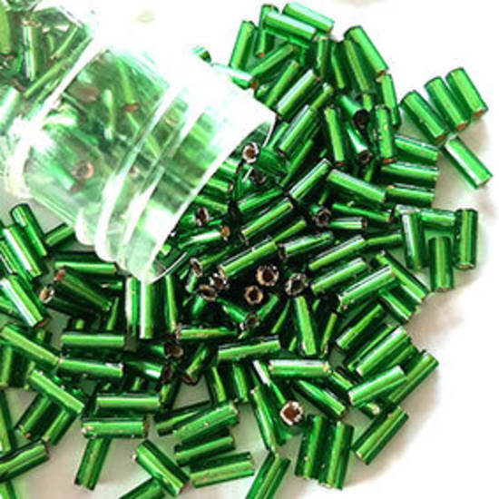 Chinese Bugle, 5mm: Emerald Green, silver lined