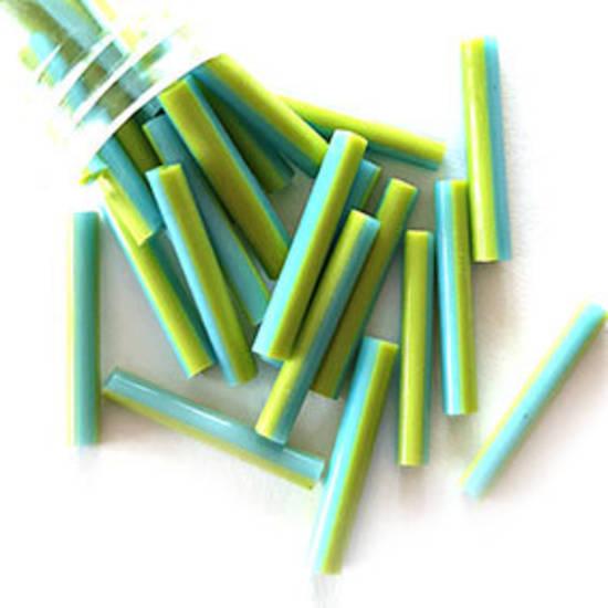 Chinese Bugle, 16mm: Opaque Green/Aqua stripe