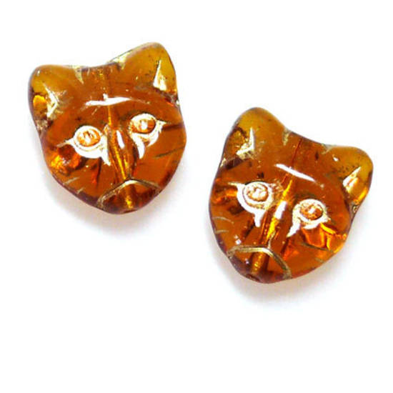 Cat Head, Amber with gold detail