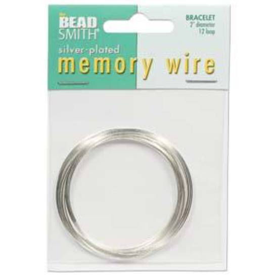 "Memory Wire, Medium (2"") Bracelet - bright silver: 12 coil pack"