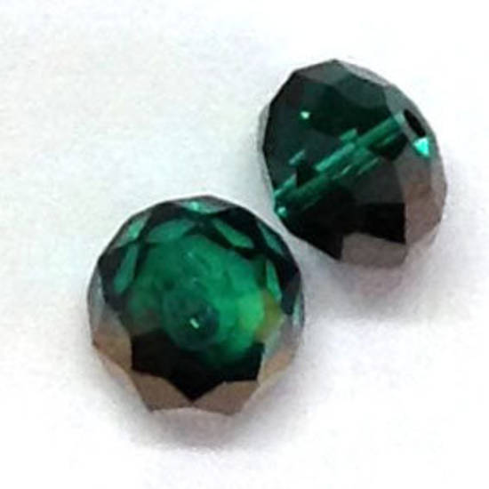 Chinese Crystal,  8mm rhondelle - Emerald with silver stripe