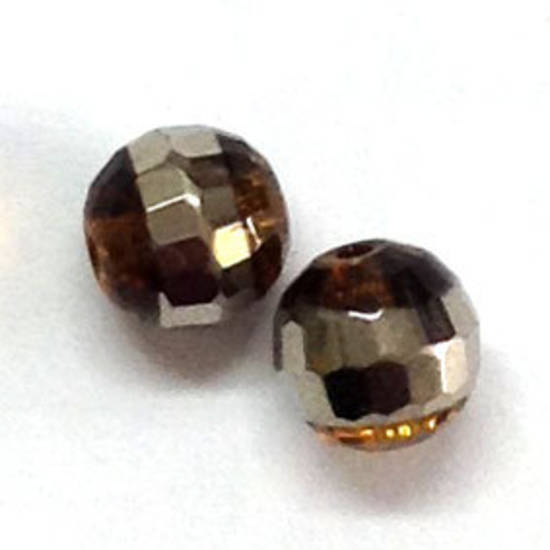 Chinese Crystal, 8mm round - Lt Topaz with silver line