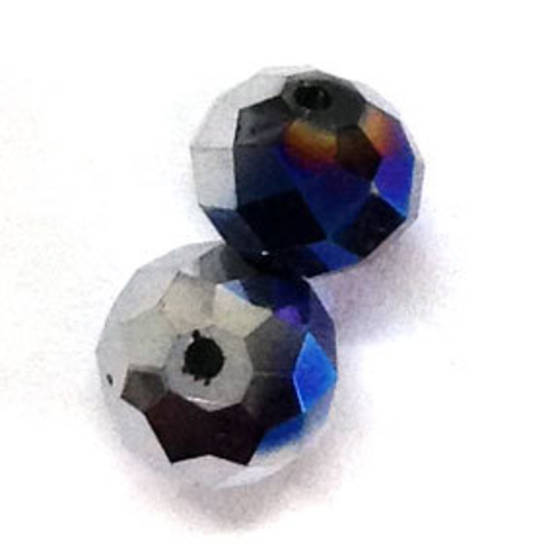 Chinese Crystal, 10mm rhondelle - Vitrail/Silver
