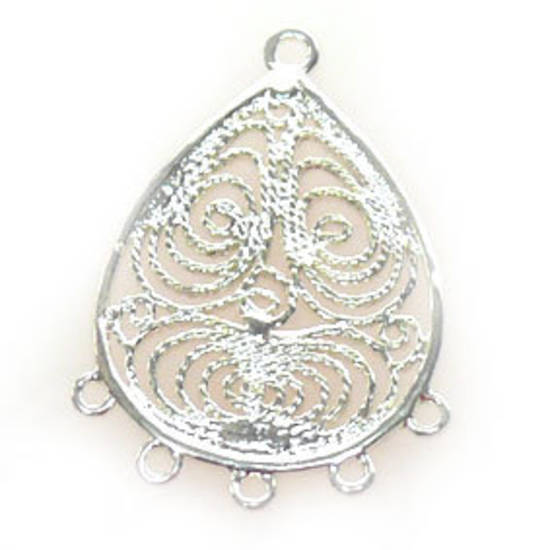 Bright Silver Chandelier Top, Fine Filgree Pear with 5 bottom loops
