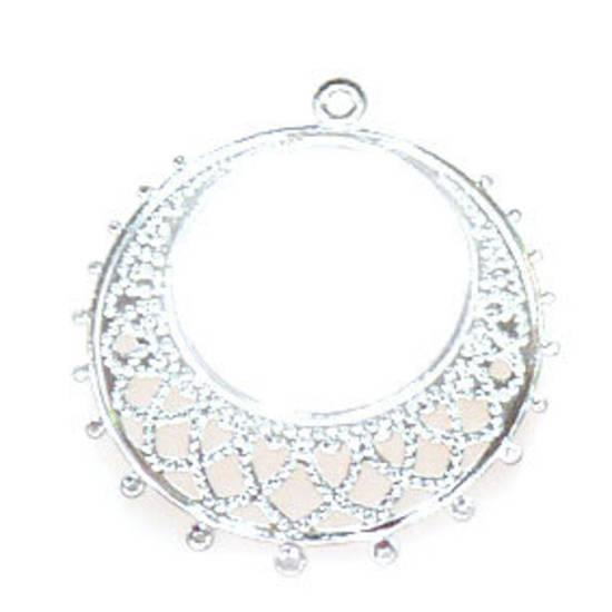 Bright Silver Chandelier Top, Fine Filigree Round