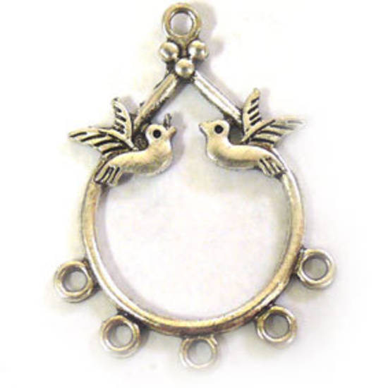 Antique Silver Chandelier Top, pear with love birds